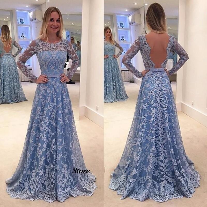 Long Sleeve Lace Prom Dress 2018 Vestido De Festa Sexy Open Back Long Evening Dresses Wear Formal Party Gown