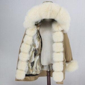 Image 3 - Oftbuy 방수 파카 롱 리얼 모피 코트 천연 너구리 여우 모피 칼라 후드 토끼 모피 라이너 두꺼운 따뜻한 겉옷 streetwear