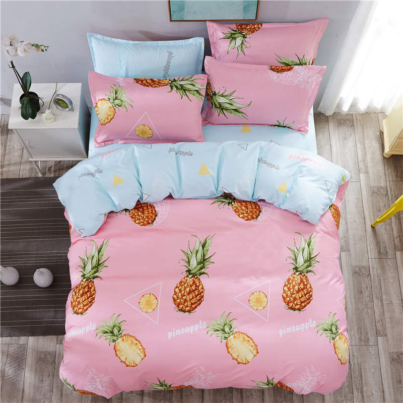 Pineapple Floral Bedding Set Single Double King Size Girl