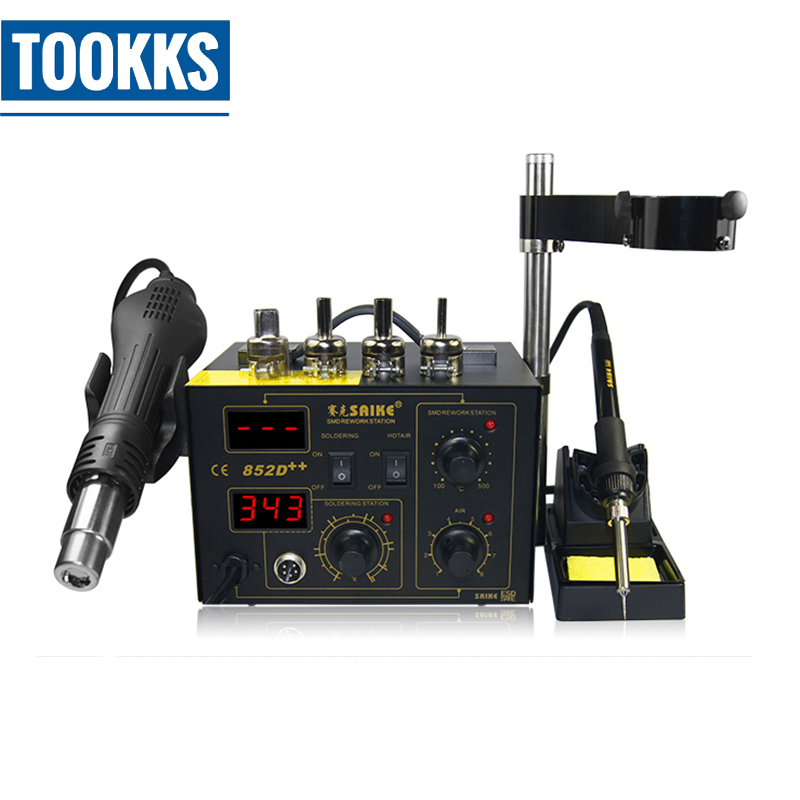 700W 3 in 1 Saike 909D Soldering Iron Station+Hot Air Gun+ Power supply 3in1 Electric Rework Station For BGA Soldering Repair 220v multifunction 3 in 1 soldering rework station iron heating hot air gun bga ic chip for iphone motherboard repair