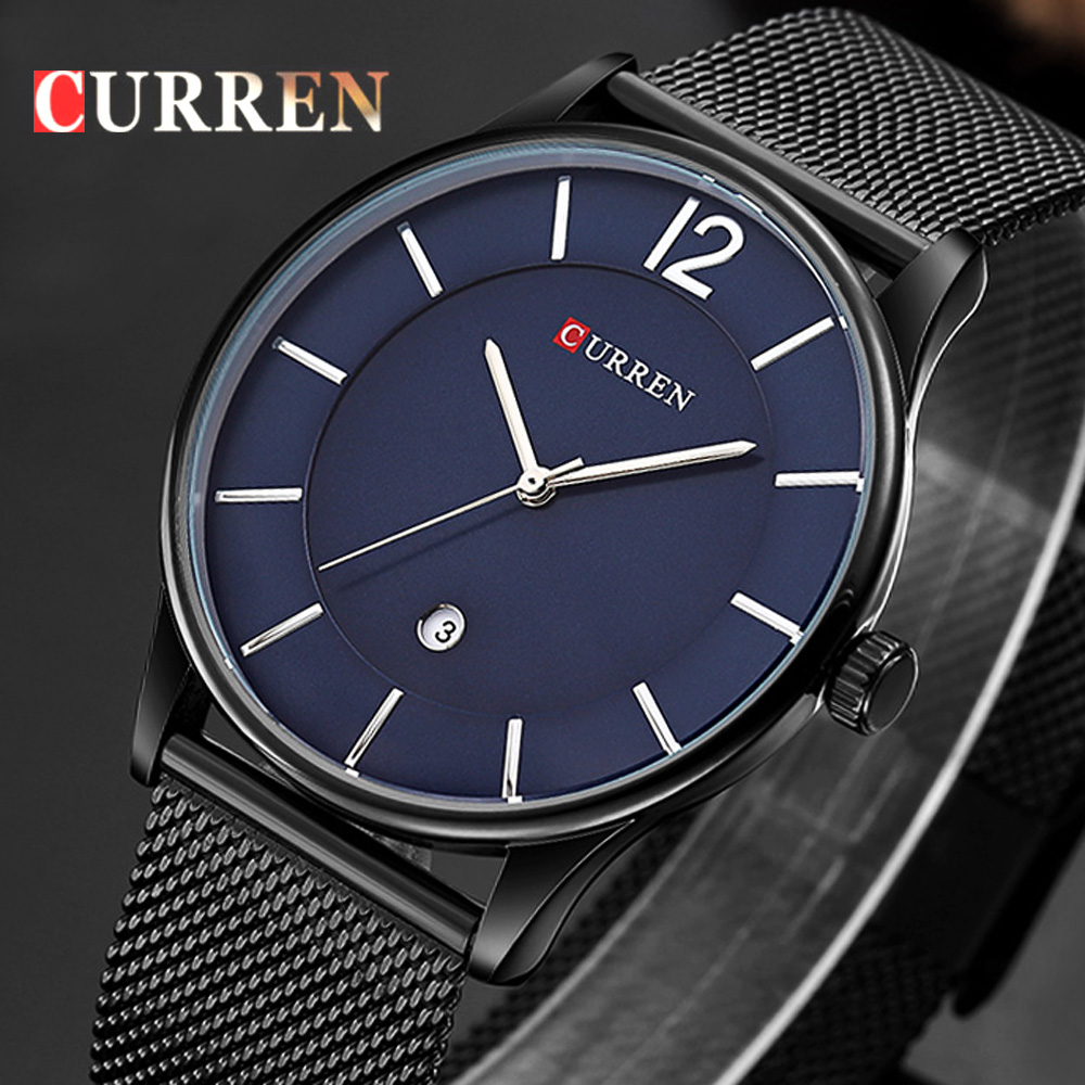 CURREN Top Watches Men Luxury Brand Mesh Steel Strap Slim Male Clock Men Watch Business Fashion Casual Watches relogio masculino watches top brand luxury chronograph clock men business casual creative mesh strap quartz watch relogio masculino