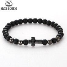 HOBBORN Trendy Black Onyx Beads Men Bracelet Handmade Natural Stone Healing Reiki Prayer Balance Women Mens Cross Bracelets Cruz