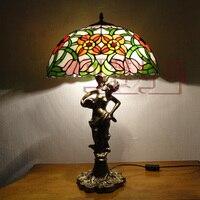 16 дюймов Мода деревенский Американский Тиффани Русалка база belle настольная лампа гостиная спальня