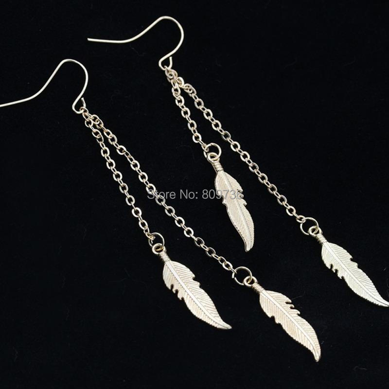 New Golden Silver Leaves Earrings Women Vintage Tassel Chain Ear ...
