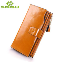 Men Genuine Leather Large Capacity Travel Wallet Women Vintage Solid Wax Billfold Card Wallets Purse Ladies