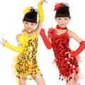Free Shipping 5 Colors Children Latin Dance Dress Kids Girls Sequin Samba Salsa Tango Stage Ballroom Dancing Clothes Costumes