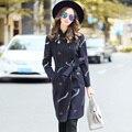 Ouyalin L-5XL casaco Longo de Lã das Mulheres Casacos de Inverno Carta Bordado Com Cinto Double Breasted Turn Down Collar Outwear Plus Size