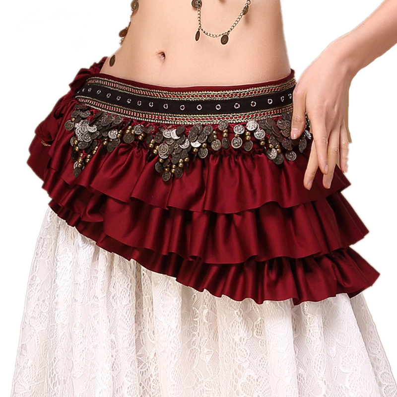 2018 New Tribal Bellydance Clothes Gypsy Costume Accessories Fringe Wrap Coins Belts Hip Scarf Belly Dance Belt