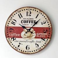 COFFEE Digital Large Wall Clock Wooden Creative Circular Antique Clocks Coffee Shop Restaurant Bar Home Decoration