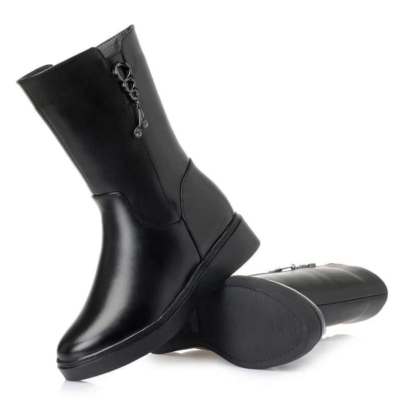 SWONCO Yün Kürk Kar Botları Kadın Kış sıcak ayakkabı Hakiki Deri Çizme Kadınlar Yeni 2019 Siyah yarım çizmeler Platformu anne ayakkabısı