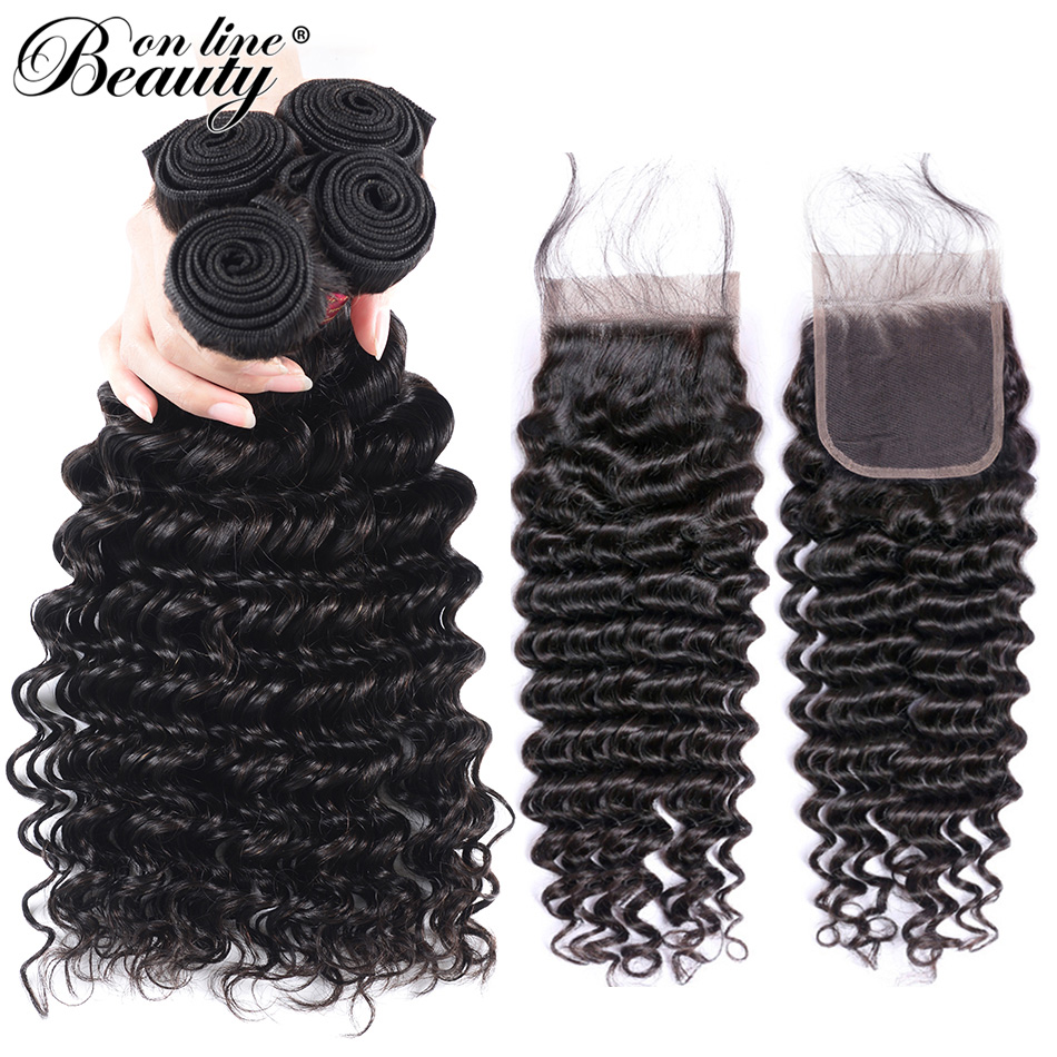 Beauty On Line Hair Brazilian Deep Wave 4 Bundles With Closure Remy Human Hair Weave Bundles With Closure Free Middle Three Part