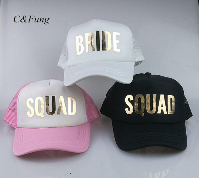 7dfe3b1083715 2018 new pink BRIDE SQUAD Party baseball Trucker Rapper Cap Hat  Bachelorette hats for wedding Bridal