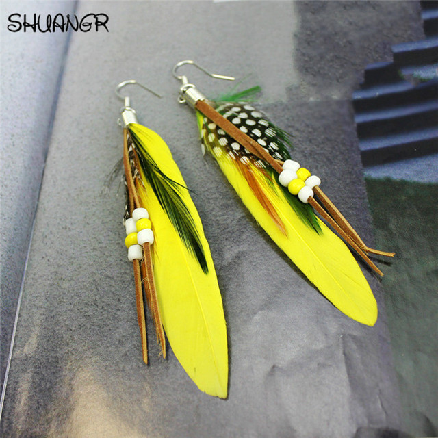 SHUANGR Hot sale Fashion Bohemia Charms Womens Vintage Dangle Earrings Exaggeration Feather Beads Big Drop Earring Jewelry 2017 3