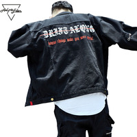 Aelfric Eden Jean Jacket Mens Metal Letter Denim Jeans Baseball Jacket Men Punk Jacket Men High