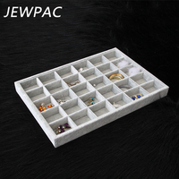 JEWPAC New Grey 30 Grids Jewelry Display Tray With Grey Fabric Earrings/Rings Stand Holder Jewelry Organizer Tray Holder Z14