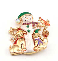 Navidad navidad regalo copo de nieve melocotón corazón mascota Diamante de imitación esmalte pájaro muñeco de nieve broche joyería