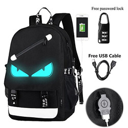 Anime Luminous Backpack Noctilucent School Bags Daypack USB Chargeing Port Laptop Bag Handbag For Boys Girls Men Women