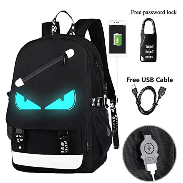 d8f945c951 Anime Luminous Backpack Noctilucent School Bags Daypack USB Chargeing Port  Laptop Bag Handbag For Boys Girls