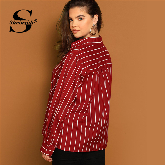Sheinside Plus Size V Neck Striped Blouse Women Long Sleeve Top 2019 Spring Fashion Ladies Long Tops Burgundy Casual Blouses 1