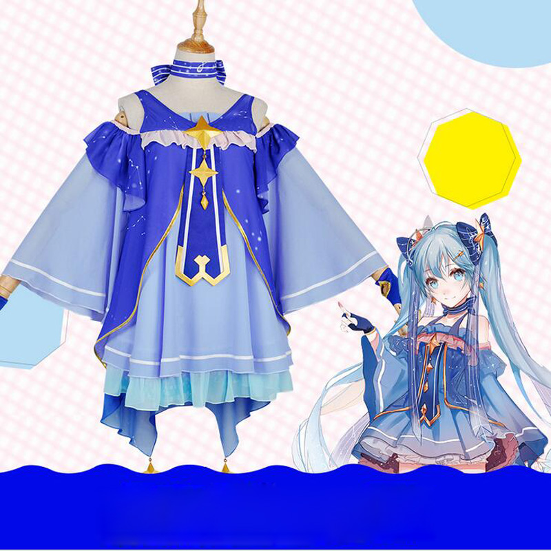 DJGRSTER 2018 High Quality Cosplay Snow Miku Hatsune Star Princess Dress Cosplay Costumes Kit Japanese Mid Dress Set Dresses