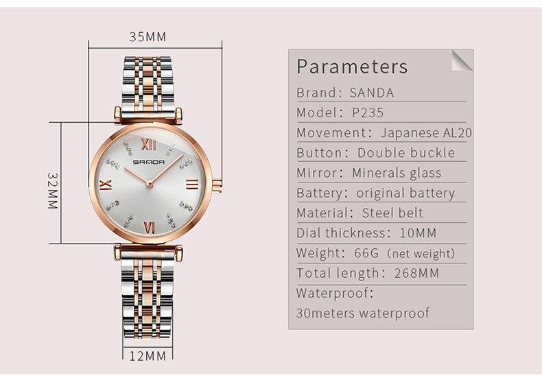 Relojes de marca famosa de oro rosa, reloj vintage a prueba de agua informal de estrella de las señoras, reloj de diseñador de moda de acero inoxidable para mujer - 6