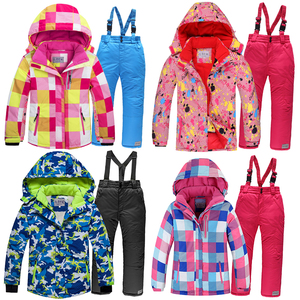 Image 1 - 2019 Winter Set for Boy Fleece Hood Warm Girls Skiing Suits Windproof Sport Children Outfits Clothes Kids Snow Suits Tracksuit