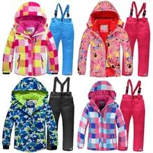2019 Winter Set voor Jongen Fleece Hood Warm Meisjes Skiën Pakken Winddicht Sport Kinderen Outfits Kleding Kids Sneeuw Pakken Trainingspak