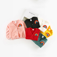Spring Autumn Style Rainbow Embroidered Baby Girl Boy Knitting Shirts Girls Boys Single Breasted Sweater Coat