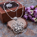 Hot Bohemian Ethnic Vintage Statement Maxi Jewelry Tibetan Silver Hollow Flowers Necklaces & Pendants Sweater Chain For Women