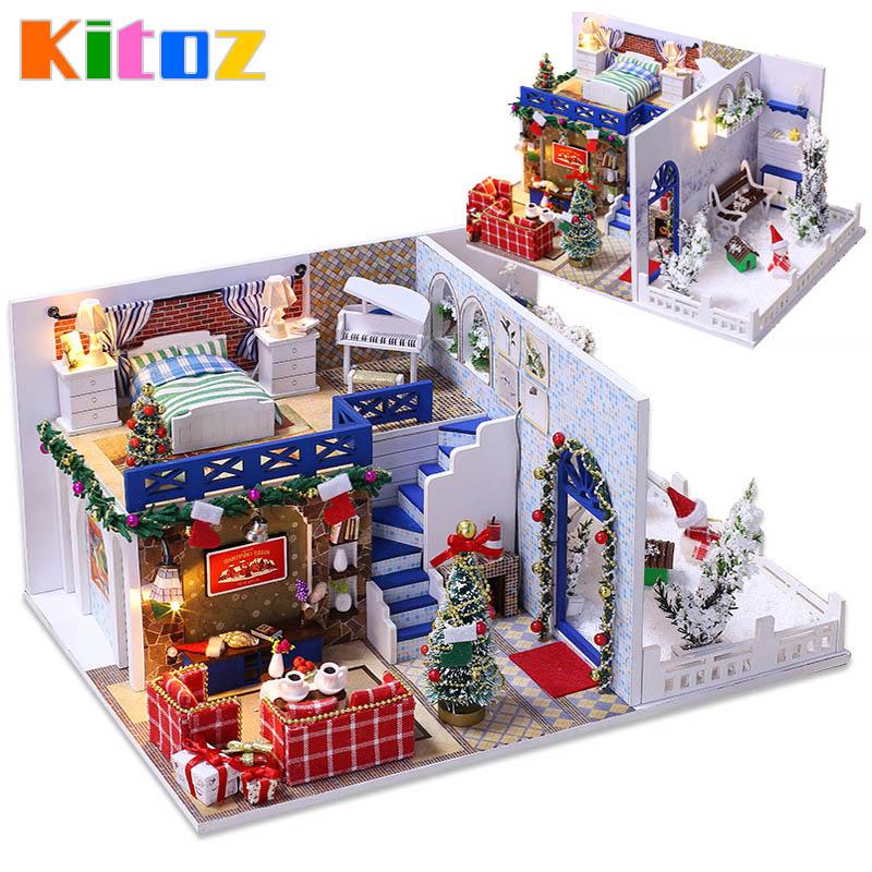 Kitoz Diy Christmas Doll House Miniature Small Wooden Room Box