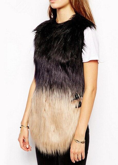 09303b838cf XS-2XL Womens Faux Fur Vest Femme Fur Gilet Leather Stitching Fur Vest  Waistcoat For Female New Fashion Trends
