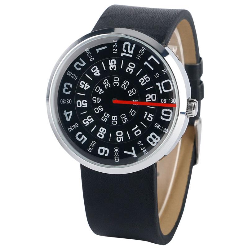 Horloge Heren Creatief Leren Band Band Armband Draaitafel Horloges - Herenhorloges - Foto 3