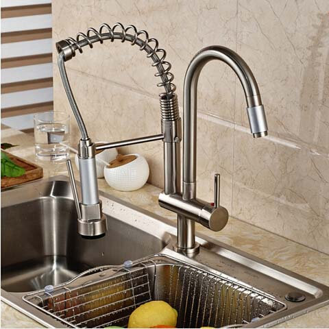 Nickel Brushed Kitchen Faucet Swivel Spout Deck Mounted Sink Mixer Tap Single Handle Hole Hot and Cold Water
