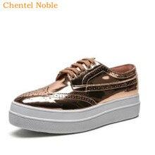 5499bffc6 Elyse Couro macio Plataforma Mulheres Sapatos Oxford Lace Up Sapatos de  Couro Superior de Alta Qualidade