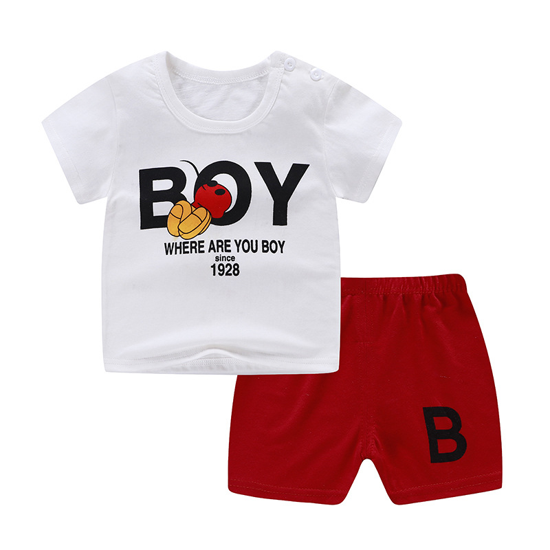 Summer Baby Kids Short Sleeves+Shorts Baby Boy Fashion Clothing Sets Baby Girl Lovely Clothing Outfits