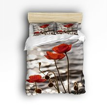 Bedding Set  Red Poppy Flower Ink Painting Art Design Duvet Cover Set  Bedspread For Children