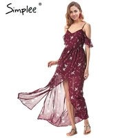Simplee Strap Cold Shoulder Chiffon Dress Women Split Floral Print Summer Long Dress Female Streetwear Spring