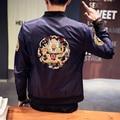 2017 новых женщин куртка большой размер мужской пиджак китайский дракон вышивка пиджаки моды хип-хоп случайный пальто М-5XL, JK11