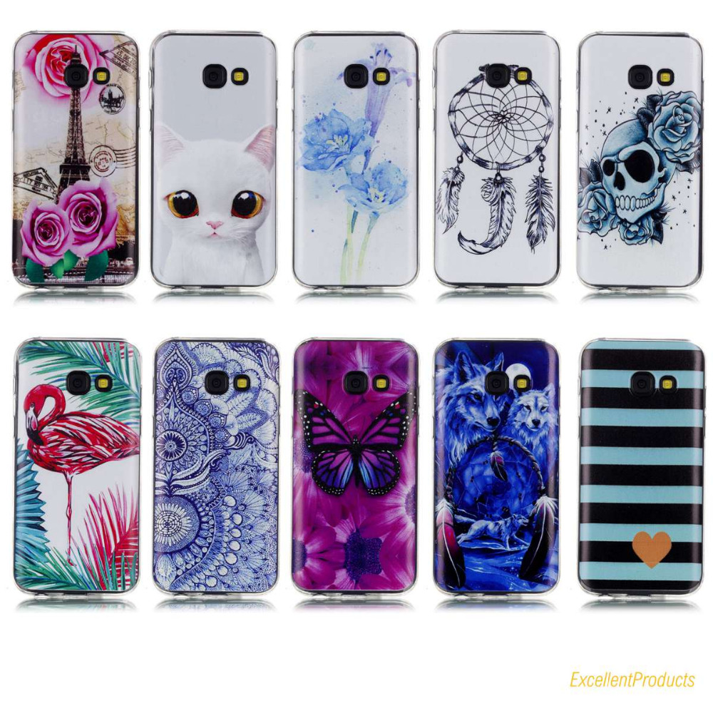 Fashion Flamingos Wolf Eiffel Tower butterfly Pattern Soft TPU Silicone cover For Samsung A3 2017 phone case Fundas etui caso