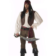 Freepp Captain Pirates Caribbean Jack Sparrow Pirate fantasia Adult Cosplay Fancy Dress Carnival Halloween Cosplay Costume ML XL halloween costume caribbean pirate jack sparrow wig w beards black brown