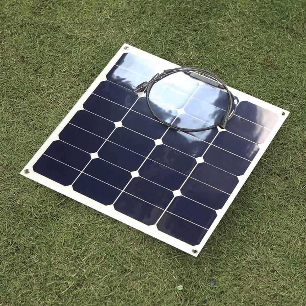 X-DRAGON 50W Semi Flexible Solar Panel Water Resistant 12V 18V Solar Panel for Battery Charging.