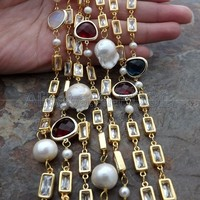 70 White Keshi Pearl Crystal Chain Long Necklace