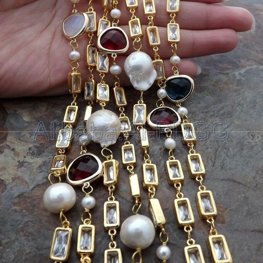Collier Long en cristal blanc avec perle Keshi de 70