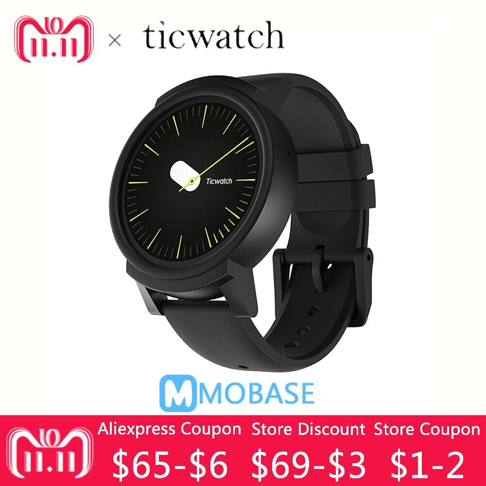 D'origine Ticwatch E GPS Sport Montre Smart Watch Android Wear OS Moniteur de Fréquence Cardiaque MT2601 Bluetooth 4g ROM WIFI Musique IP67 Étanche