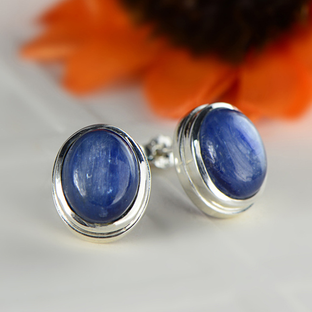 Glaucophane Earrings 925 Silver Stud Earring for Women Wedding Brincos GZ sterling-silver-jewelry Boucle d'oreille E146