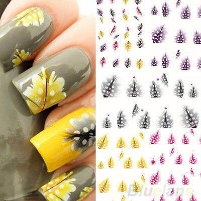 1 Лист Перо 3D Nail Art Воды Стикера этикеты Мода Подсказки Украшения Новый BA4A