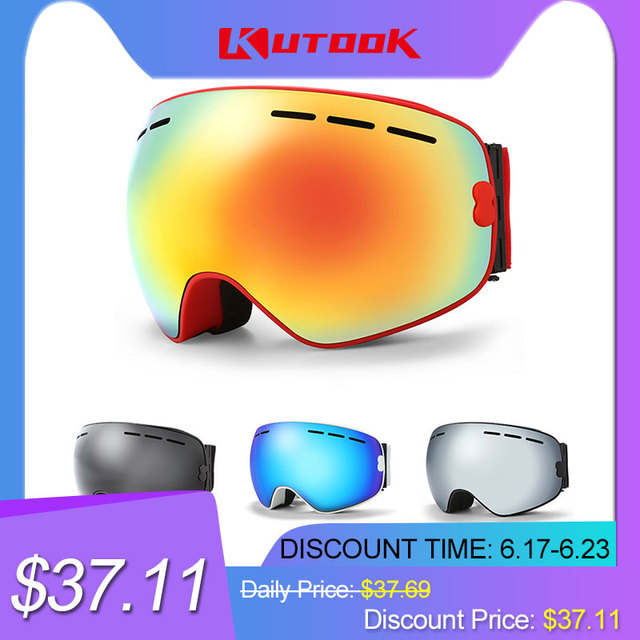KUTOOK Double-layer Snowboard Goggles Ski Glasses Windproof Snow Goggles Winter Ski Mask snowmobile eyewear With Case Lunette