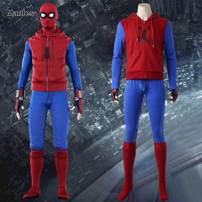 Spiderman Superhero Cosplay Spider-Man Homecoming Costume Spider Man Outfit Halloween Carnival Clothing Adult Men Whole Set Red