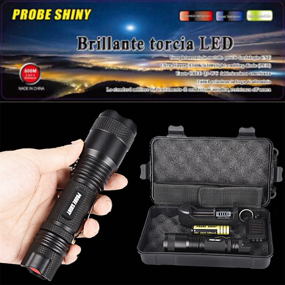 PROBE SHINY X800 5000LM Zoomable XML T6 LED Tactical Flashlight +18650 Battery US Plug Dropshipping #1101 фонарик led flashlight skyray 5 x t6 xml 3 5000lm 18650 xml t6