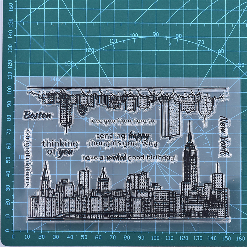 YaMinSanNiO Pcs 11*16cm Sketchy Cities America Stamp Scrapbooking New 2019 Album Embossing Silicone Transparent Stamp Stencils image